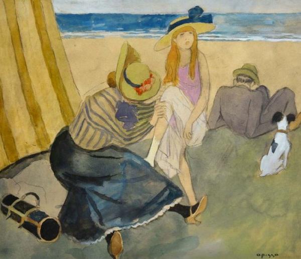 Familia-en-la-playa-Bañistas-Opisso-Sala,-Ricard