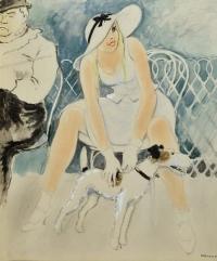 Oscar Wilde, Toulousse Lautrec y muchacha - Opisso Sala, Ricard