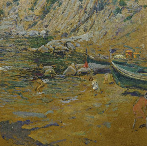 Marina con barcas y ninos - Matilla Marina, Segundo