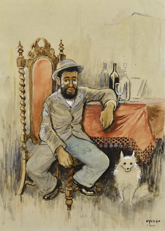 Toulousse Lautrech con perro - Opisso Sala, Ricard