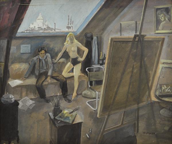 El pintor y la modelo - Opisso Sala, Ricard