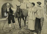 Personajes y burro - Opisso Sala, Ricard